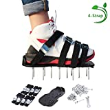 Leegoal Lawn Aerator Shoes, Heavy Duty Spiked Sandals for Grass, with 4 Adjustable Straps and Metal Buckles, Professional Garden Lawn Shoes (Black)
