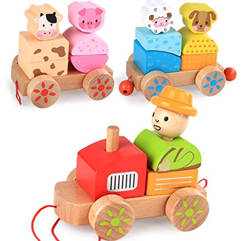 Yiping Early Childhood Games Wooden Build Up Farm Animals Train Toys Pull Along Toys for Toddlers
