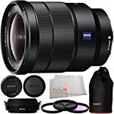 Sony 16-35mm Vario-Tessar T FE F4 ZA OSS E-Mount Lens + Manufacturer Accessories + 3PC Multi-Coated Filter Kit (UV+CPL+FLD) + Microfiber Cleaning Cloth