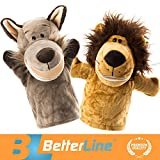 """Image of Better Line Animal Hand Puppets Set Of 2 Premium Quality, 14"""" Soft Plush Hand Puppets For Kids- Perfect For Storytelling, Teaching, Preschool, Role-Play Lion and Wolf Toy Puppets"""