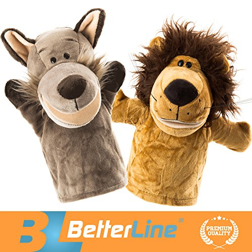 - BETTERLINE Animal Hand Puppets Set of 2 Premium Quality, 9.5 Inches Soft Plush Hand Puppets for Kids- Perfect for Storytelling, Teaching, Preschool, Role-Play Toy Puppets (Lion and Wolf)