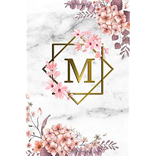 Floral Pink Composition Notebook for Women and Girls Lined Pages Book 8.5 X 11 Letter R Monogram Initial Notebook