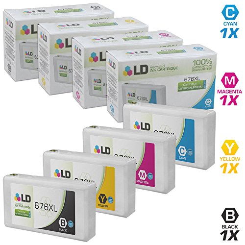 LD Remanufactured Ink Cartridge Replacement for Epson 676XL High Yield (Black, Cyan, Magenta, Yellow, 4-Pack) (Epson 4530 Ink)