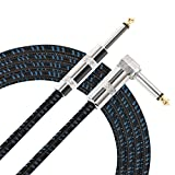 Donner 10 Feet Straight to Right Angle Premium Electric Guitar Bass Cable Musical Instrument Cord 1/4