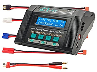 C1-XR CAR 10Amps 100Watts LiPo LiHV LiIon LiFe NiCd NiMh AC/DC Multi-Chemistry Balancing Battery Charger w Internal Resistance, Terminal Voltage Control, Battery Meter Deans Traxxas Tamiya Redcat EC3