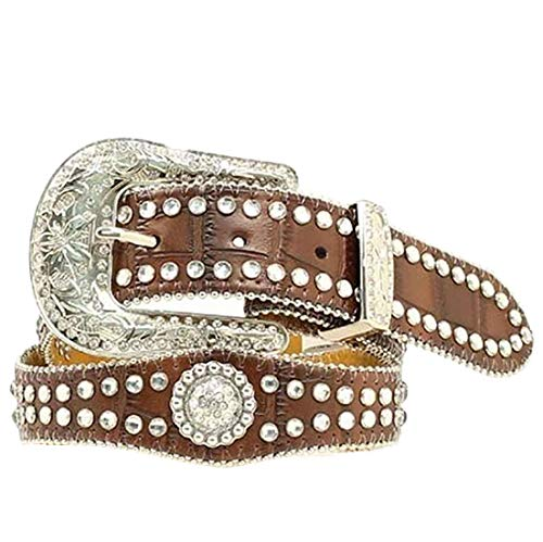 M&F Western Girl's Scalloped Round Concho Belt (Little Kids/Big Kids) Brown 22