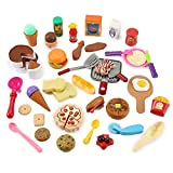 Cooking Chef 50 Piece Pretend Play Food Assortment Toy Set for Kids with Pan, Kitchen Tools, Breakfast, Fast Food, Ice Cream, Desserts