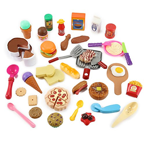 Liberty Imports Cooking Chef 50 Piece Pretend Play Food Assortment Toy Set for Kids with Pan, Kitchen Tools, Breakfast, Fast Food, Ice Cream, Desserts