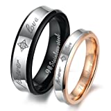 "Dreamslink ""Forever Love"" Black & Rose Gold Plated Stainless Steel Titanium Wedding Band Couple Rings 283 W6"