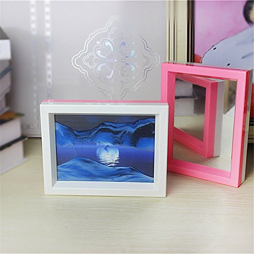Deerbird Moon in Water Flowing Sand Picture 3D Illusion Landscape Double Color Frame Sand Art with Mirror for Living Room Shelf Art (Hourglass Stand)