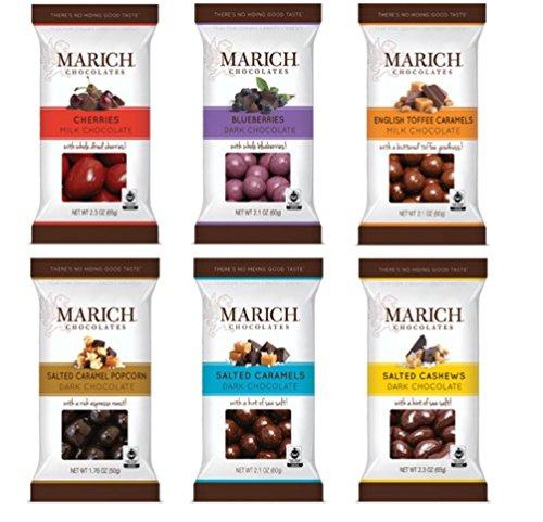 Marich Premium Chocolates 6 Flavor Sampler Bundle, (1) each: Cherries, Blueberries, English Toffee Caramels, Dark Salted Caramel Popcorn, Salted Caramels, Salted Cashews (1.76-2.3 ()