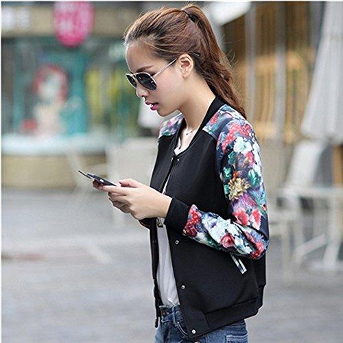 Review Hellomamma Women's Slim Fit Floral Print Baseball Bomber Jacket Black S