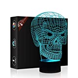 Skull 3D Illusion Birthday Gift Lamp, Gawell 7 Color Changing Touch Switch Table Desk Decoration Lamps Christmas Present with Acrylic Flat & ABS Base & USB Cable Toy for Skull Fans