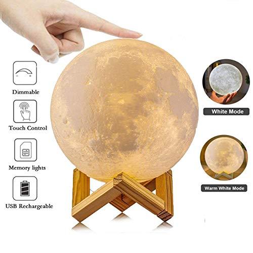 Lámpara de Luna de Impresión 3D Recargable, Lámpara de Noche LED, Luz de la Noche para Bebé Niño, Control Táctil, 2...