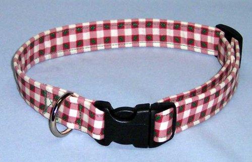 Checkered Holly - Country Brook Design Holly and Plaid Designer Handmade Dog Collar-MI