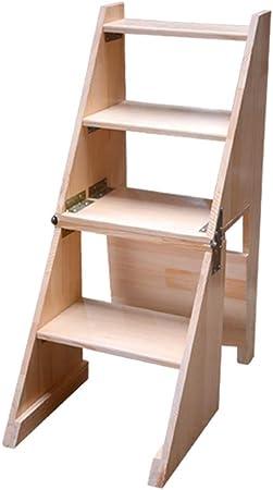 Escalera de Taburete portátil Plegable de 4 peldaños, escaleras de Tijeras de escaleras de Madera para taburetes para el hogar, Herramienta de huerto doméstico Máx. 150kg en Altura Natural: 92cm: Amazon.es: Hogar