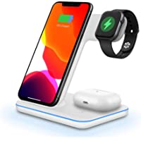Wireless Charger, DOSHIN 3 in 1 15W Fast Qi Wireless Charging Station for iPhone SE/11/8/X, Samsung Galaxy s10/s9/s8…