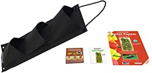 Organic Vertical Hanging Vegetable Garden Planter Kit - Grow Tomatoes or Peppers - Includes 24
