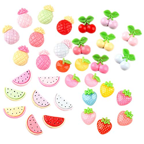 - 33 Pack Fruits Slime Charms Watermelon Strawberry Cherry Pineapple Apple Resin Flatback Beads for Hair Accessories Phone Case Scrapbooking Decor