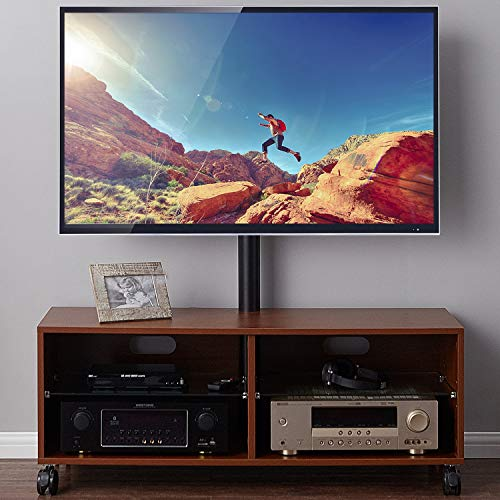 "Rfiver Entertainment Center Wood Media TV Stand with Swivel Mount and Rolling Wheels for 32""-65"" TVs, Console Storage Cabinet for Gaming Consoles, Xbox, Media Component, Streaming Devices, Walnut"