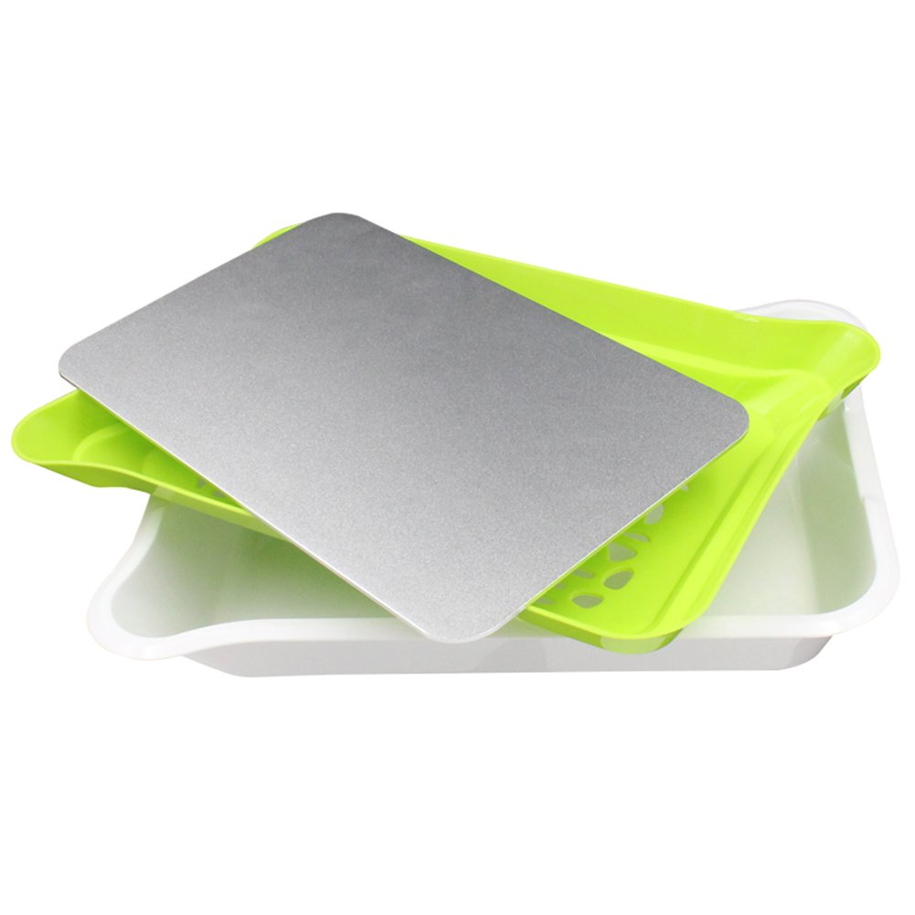 Multifunctional 3-In-1 Fast Defrosting Tray Drain Plate Storage Tray Safely Thaw Frozen Meat or Food Quickly Without Electricity, Microwave