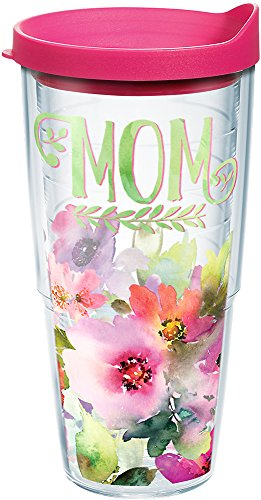Tervis 1242901 Mom - Watercolor Floral Tumbler with Wrap and Fuchsia Lid 24oz, Clear