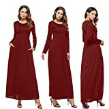 Womens Long Sleeve Dress O-Neck Casual Loose Tunics Evening Party Long Dress (L, Wine Red)