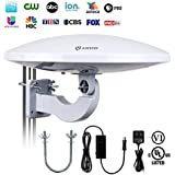 ANTOP Outdoor HDTV Antenna Omni-Directional 360 Degree Reception Antenna Outdoor, Attic,RV Used, 65 Miles Range Amplifier Booster 4G LTE Filter, Waterproof, Anti-UV Easy Install