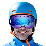 ROGSFN Anti-Fog ski Goggles for Men Womens & Youth Skiing Frameless Over Mirrored Glasses Helmet Compatible UV Protection,Cool Winter Sport Snowboard Goggles-Blue Frame Blue Lens