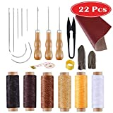 #6: Leather Craft Kits MIUSIE 22 Pieces Leather Tools Set Leather Tools and Sewing Supplies with Three Awls,Needle Kit,Finger Cot,Scissor,Waxed Threads,Leather Skin for Making Leather Handbags
