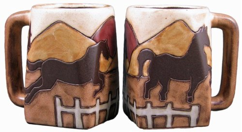 (One (1) MARA STONEWARE COLLECTION - 12 Oz Coffee Cup Collectible Square Bottom Dinner Mugs - Equestrian Horse)