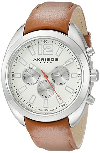 Akribos XXIV Men's AK777SSBR Multifunction Quartz Movement Watch with Cream Dial and Cognac Calfskin Leather Strap