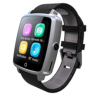 Smart Watch, YAMAY Universal Bluetooth Smartwatch Phone Waterproof with Sim Card Slot Camera Video Music Player Leather Band for iOS Android iPhone Samsung LG Phones for Running Sport Women Men