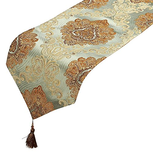 Table Runner - Polyester Cotton Dresser Runner with Tassels and Jacquard Designs, Ideal for Coffee Table Runner, Dining Table Runner, or Kitchen Table Runner, Laurel Green, 78 x 12.05 x 0.2 Inches (Green Rustic Dresser)