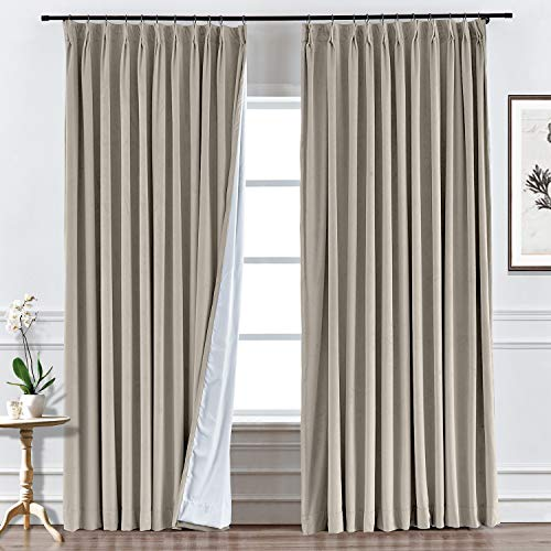 Prim Velvet Blackout Curtain Thermal Insulated Room Curtain Pinch Pleat Curtain Bedroom Window Drapes Room Darkeing Modern Curtains, 58x84inch, Gray Beige Color, 1 Panel