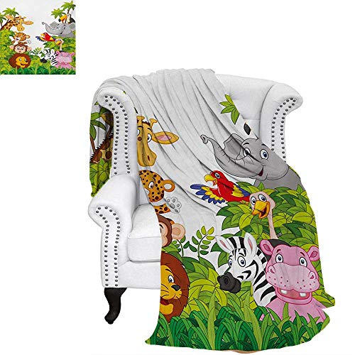 versized Travel Throw Cover Blanket Cartoon Style Zoo Animals Safari Jungle Mascots Collection Tropical Forest Wildlife Super Soft Lightweight Blanket 50