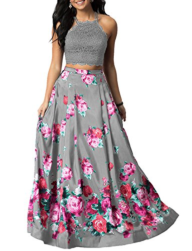 LL Bridal Women's Halter Two Pieces Floral Printed Prom Dresses Long 2018 Evening Formal Gown Gray Size 6 Two Piece Bridal Dress