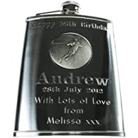 Mens 21st Birthday Gift, Stainless Steel Engraved Hip Flask with Solid Pewter Rugby Player Feature, Men's Birthday Gifts