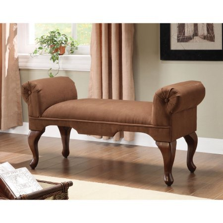 Padded Bedroom End Bench, Wooden Queen Anne Leg, Button Tufted Rolled Arm, Rectangular Shape, Microfiber Fabric,Perfect for Entryway, Living Room, Hall, Family Room, Home Furniture, BONUS E-book Queen Anne Hall Table