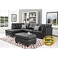 ArtMuseKit IND6601JB Leather Sectional Sofa (Dark Espresso)