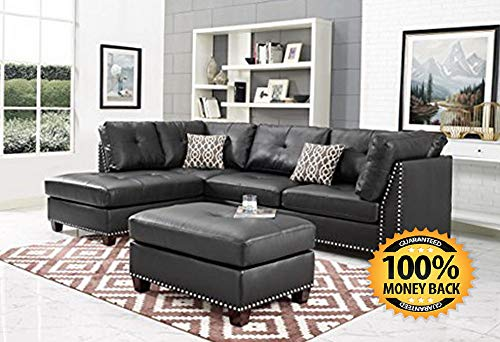 Excellent Glitch Leather Sectional Sofa Dark Espresso Only 367 60 Machost Co Dining Chair Design Ideas Machostcouk