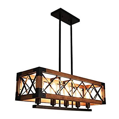 Lingkai Industrial Kitchen Island Lighting Rectangular Wood Chandelier Pendant Ceiling Light 5-Light Farmhouse Hanging Light Fixture