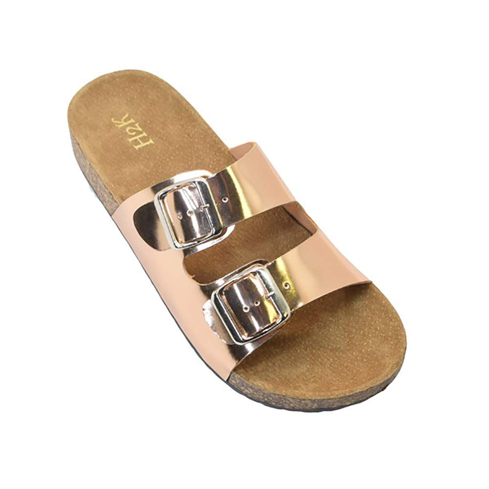 H2K Slide Sandals for Women, Karen' Women's Summer Comfy Leather Footbed Slide Sandals Slip-On Flat Slippers Flip Flops Shoes Adjustable Buckled Straps, Rosegold/Size 10