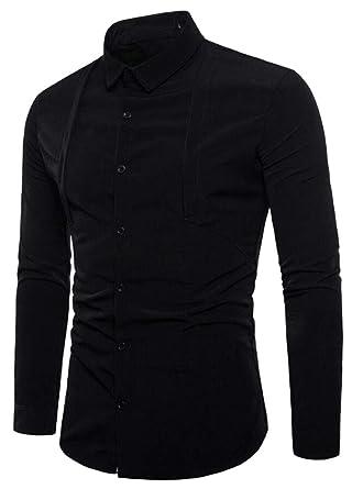 desolateness Mens Dress Shirt Long Sleeve Solid Casual Slim Fit Button Down Shirt