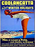 Coolangatta Gold Coast South Queensland for Your Winter Holidays Australia Vintage Australian Travel Advertisement Art Poster Print. Measures 10 x 13.5 inches