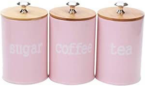 joyMerit 3 Pack Kitchen Canister Condiment Pot Set with Airtight Lid for food Storage, Store Coffee, Sugar, Tea, Spices, Dry Food and More (Pink)