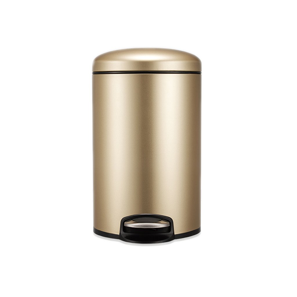 Foot-on Trash Can Stainless Steel Trash Cans Household Living Room Kitchen Bedroom Toilet Toilet With Lid (2540 Cm) ( Color : Beige )