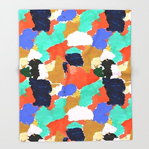 Society6 Kara - paint palette abstract minimal modern art bright colorful boho urban painting college dorm Throw Blankets 88'' x 104'' Blanket