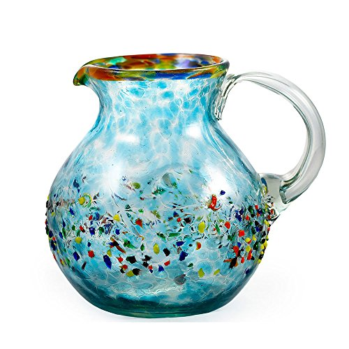 Bambeco Aqua Del Sol Hand-Crafted Blown Recycled Glass 60 oz Pitcher