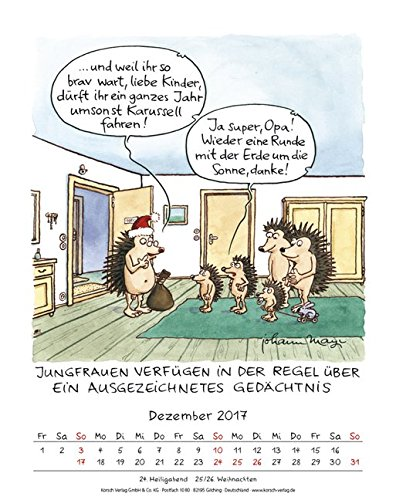 Jungfrau 2017 Sternzeichen Cartoonkalender Kalender Wandkalender
